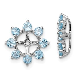 Sterling Silver Rhodium Swiss Blue Topaz Earring Jacket