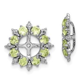 Sterling Silver Rhodium Diam. & Peridot Earring Jacket