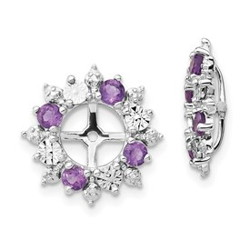 Sterling Silver Rhodium Amethyst Earring Jacket