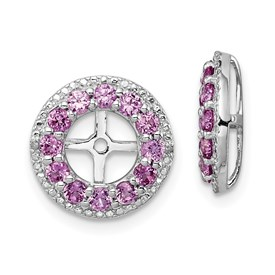 Sterling Silver Rhodium Diam. & Created Pink Sapphire Earring Jacket