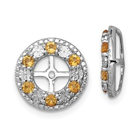 Sterling Silver Rhodium Citrine Earring Jacket