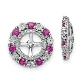 Sterling Silver Rhodium Created Ruby Earring Jacket