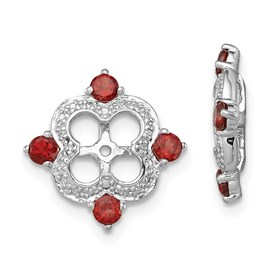 Sterling Silver Rhodium Diam. & Garnet Earring Jacket