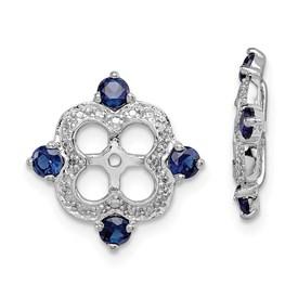 Sterling Silver Rhodium Diam. & Created Sapphire Earring Jacket