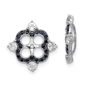 Sterling Silver Rhodium White Topaz & Black Sapphire Earring Jacket