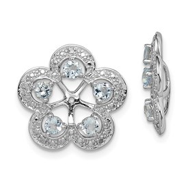 Sterling Silver Rhodium Diam. & Aquamarine Earring Jacket