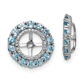 Sterling Silver Rhodium Diam. & Aquamarine Earring Jacket