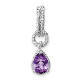 Sterling Silver Rhodium Amethyst Pear Twisted Pendant