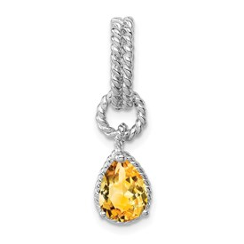 Sterling Silver Rhodium Citrine Pear Twisted Pendant