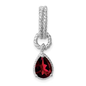 Sterling Garnet Pear Twisted Pendant