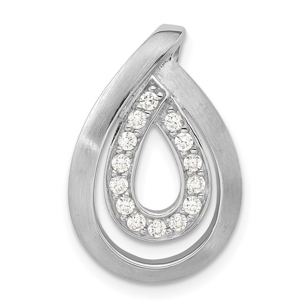 sterling silver brushed cz chain slide pendant
