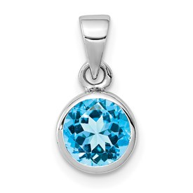 Sterling Silver Rhodium-plated Polished Blue Topaz Round Pendant
