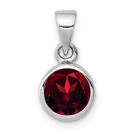 Sterling Silver Rhodium-plated Polished Garnet Round Pendant