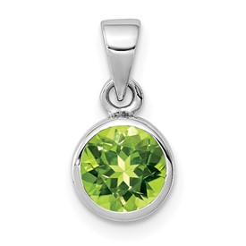 Sterling Silver Rhodium-plated Polished Peridot Round Pendant