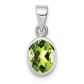 Sterling Silver Rhodium-plated Polished Peridot Oval Pendant