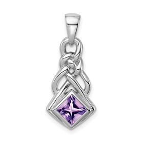 Sterling Silver Rhodium-plated w/Amethyst Pendant