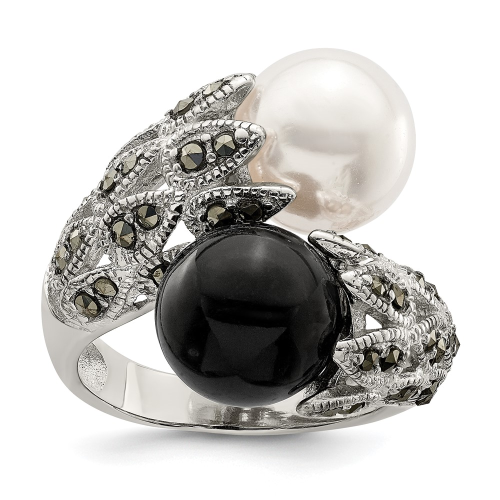 ss marcasite black and white cultured pearl ring metal wt