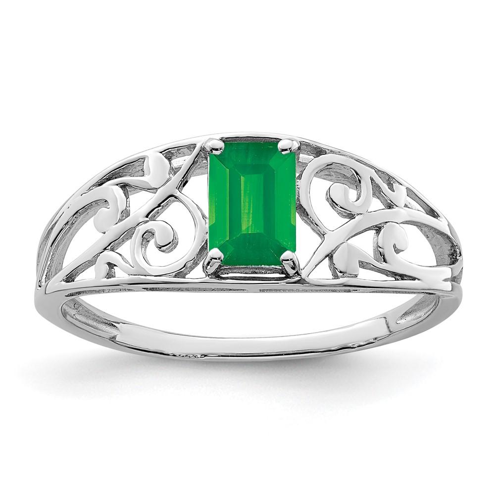 sterling silver rhodium plated emerald ring ebay