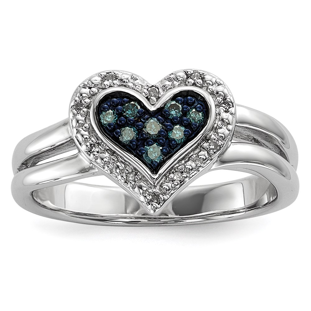 Jewelry Brothers Sterling Silver White & Blue Diamond Heart Ring at Sears.com