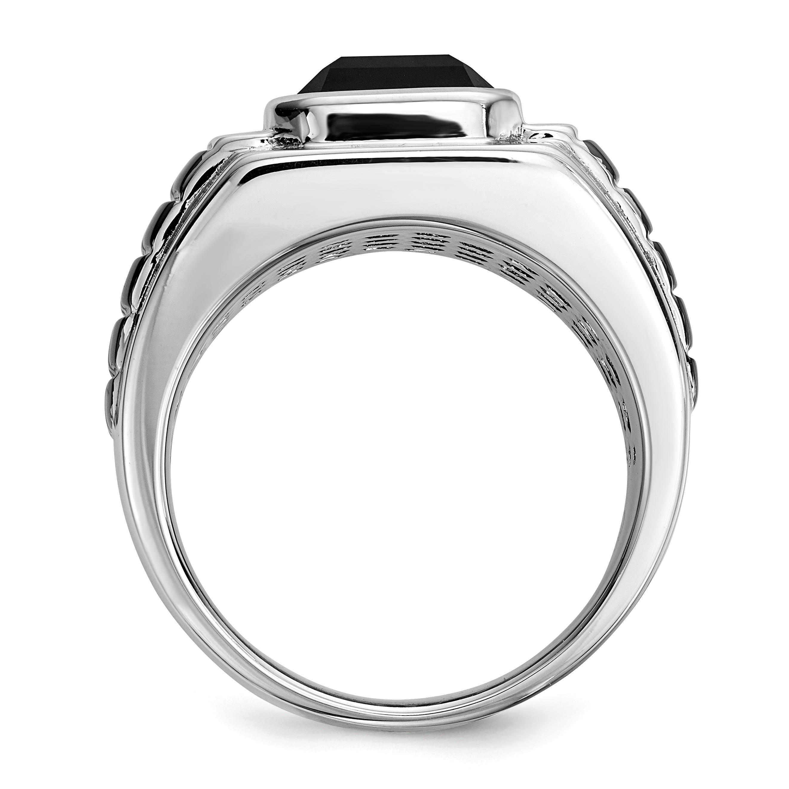 sterling silver diamond onyx square black rhodium plated. Black Bedroom Furniture Sets. Home Design Ideas