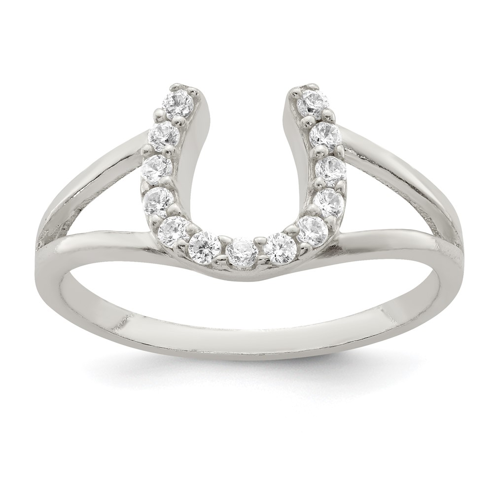 sterling silver polished cz horseshoe ring