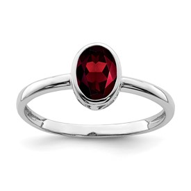 Sterling Silver Rhodium-plated Polished Garnet Oval Ring