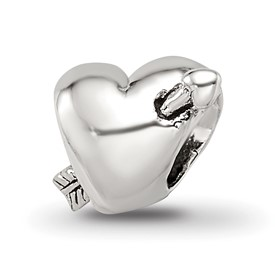 Reflection Beads Sterling Silver Kids Heart with Arrow Bead
