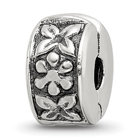 Reflection Beads Sterling Silver Hinged Floral Clip Bead