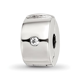 Reflection Beads Sterling Silver Hinged CZ Clip Bead