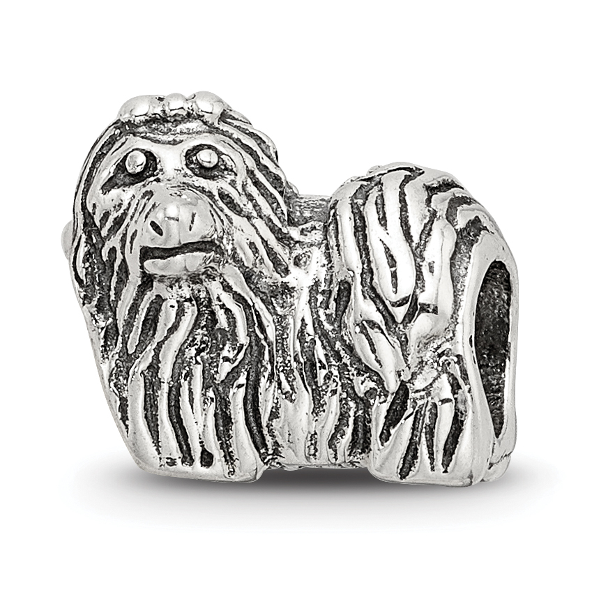 Sterling Silver Reflections Shih Tzu Bead Solid 10.00 mm 10.00 mm Themed Beads Jewelry