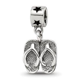 Reflection Beads Sterling Silver Kids Flip Flops Dangle Bead