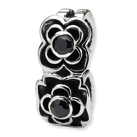 Reflection Beads Sterling Silver Black CZ Connector Bead