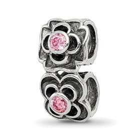 Reflection Beads Sterling Silver Pink CZ Connector Bead