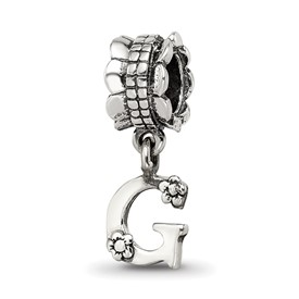 Reflection Beads Sterling Silver Letter G Dangle Bead