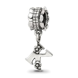 Reflection Beads Sterling Silver Letter K Dangle Bead