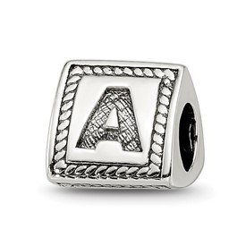 Reflection Beads Sterling Silver Letter A Triangle Block Bead