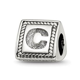 Reflection Beads Sterling Silver Letter C Triangle Block Bead
