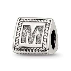 Reflection Beads Sterling Silver Letter M Triangle Block Bead