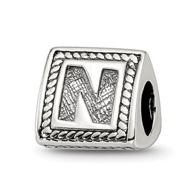 Reflection Beads Sterling Silver Letter N Triangle Block Bead