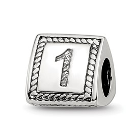 Reflection Beads Sterling Silver Number 1 Triangle Block Bead