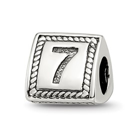 Reflection Beads Sterling Silver Number 7 Triangle Block Bead