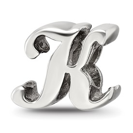 Reflection Beads Sterling Silver Letter K Script Bead