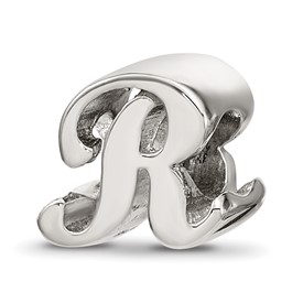 Reflection Beads Sterling Silver Letter R Script Bead