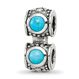 Reflection Beads Sterling Silver Turquoise CZ Connector Bead