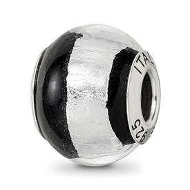 Reflection Beads Sterling Silver Silver/Black Italian Murano Bead