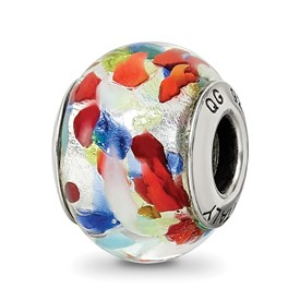Reflection Beads Sterling Silver Silver/Blue/Red Italian Murano Bead