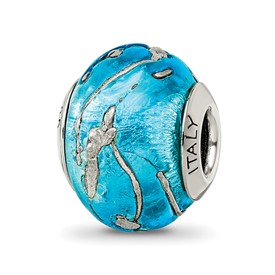 Reflection Beads Sterling Silver Blue/Silver Italian Murano Bead