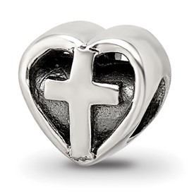 Reflection Beads Sterling Silver Kids Heart with Cross Bead