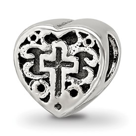 Reflection Beads Sterling Silver Kids Heart with Cross and Scroll Bead