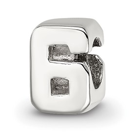 Reflection Beads Sterling Silver Kids Numeral 6 Bead